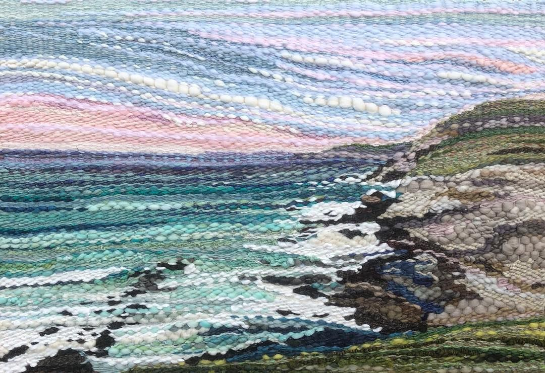 """Allison Pinsent Baker on Instagram: """"Dingle Bay, Ireland 💕 30"""" X 20"""" so far! Fringe and mount to be added 😊#novascotiaartist #weaveweird #fibreart #lovewhatyoudo…"""""""
