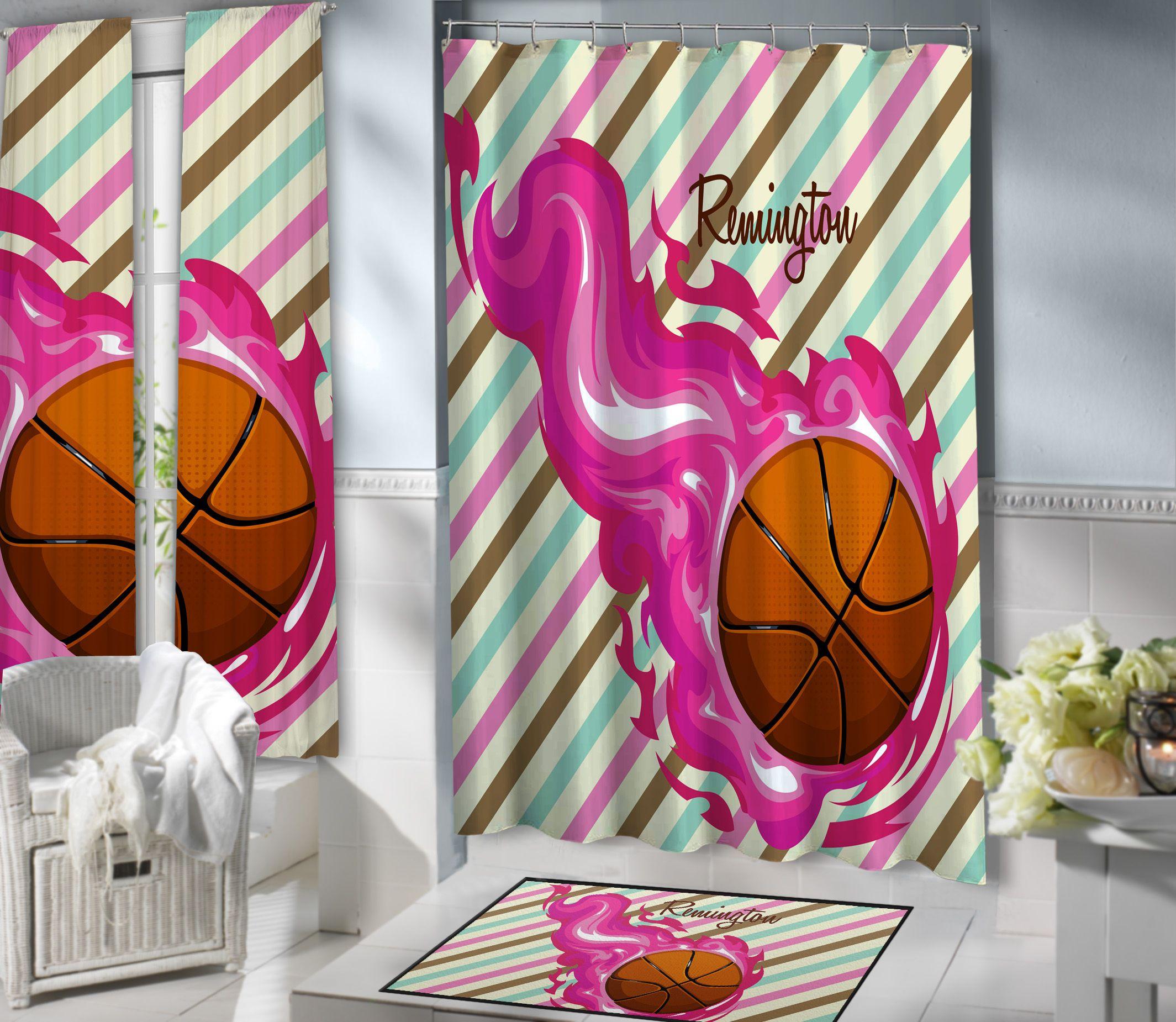 Girls Basketball Shower Curtain 150 Basketball Shower Curtain