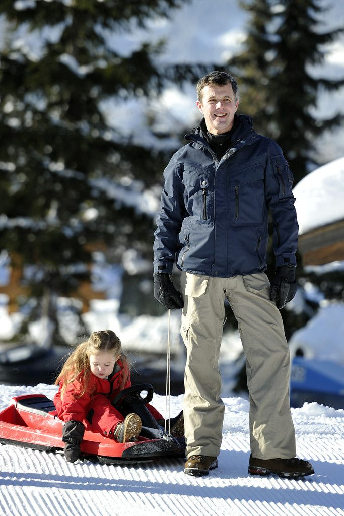 zimbio: Danish Crown Princely Family in Verbier, Switzerland, February 8, 2015-Princess Josephine with dad Crown Prince Frederik