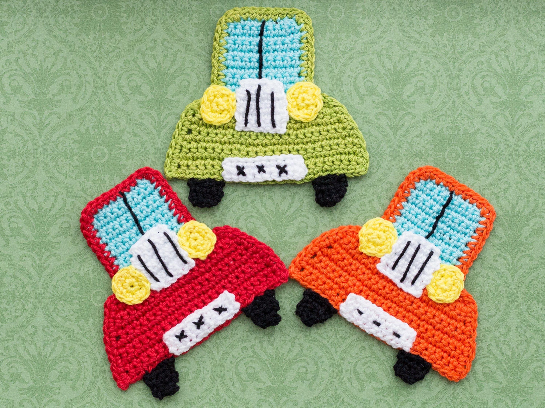 Gehäkelte Oldtimer Auto Applikation - Crochet oldtimer car applique ...