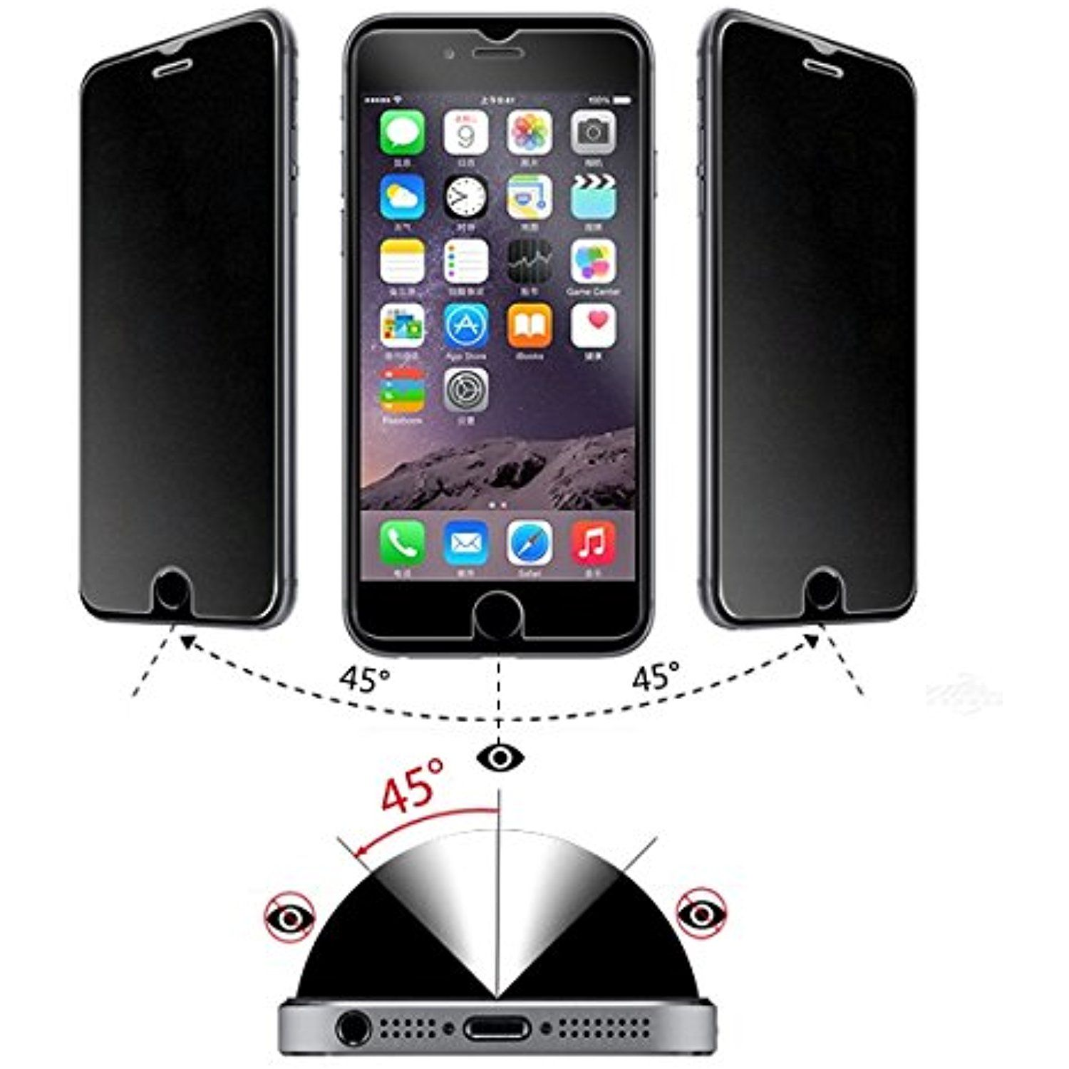 InfiniTech Premium Privacy Ballistic Tempered Glass Screen Protector for iPhone Apple 5 5c 5s