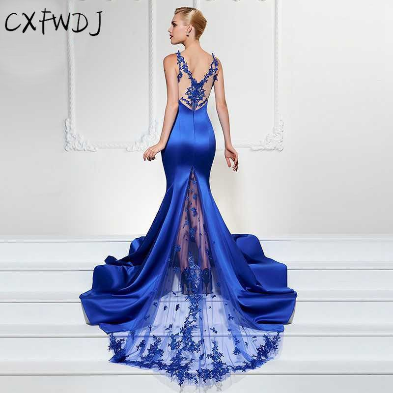 04d84a89589 2018 High End Evening Wear Dress Women New Sexy V-neck Sleeveless Large Fashion  Slim Lace Etitching Fish Tail Long Dresses Blue