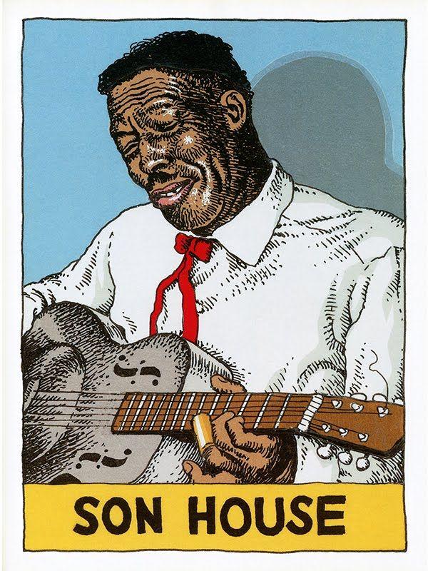 robert crumb illustration of famous delta bluesman son house