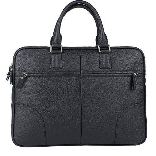 Banuce Mens Black Genuine Leather Briefcase Shoulder Bag for 14 Inch Laptop *** Click image for more details.