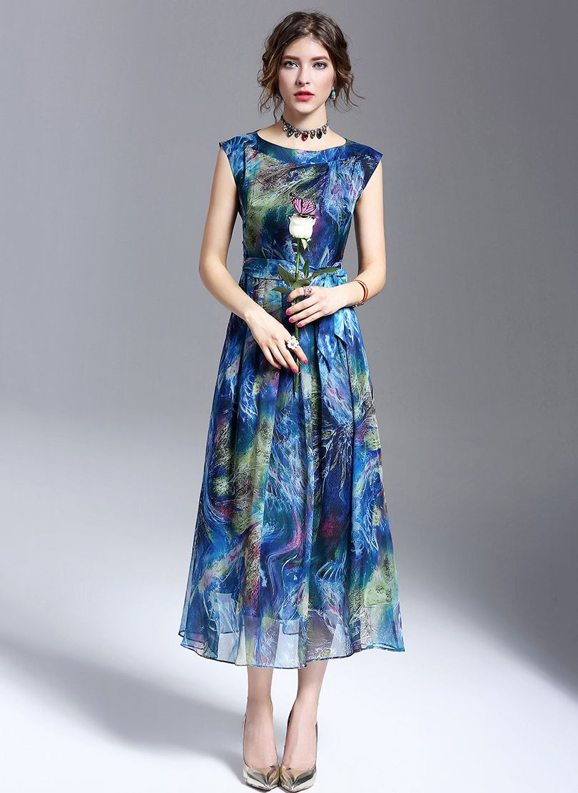 135ce195d39  floryday Silk Floral Sleeveless Maxi Casual Dresses  Dress  Maxi  Floral…