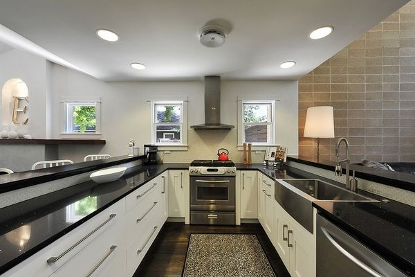 Contemporary White Cabinets Black Countertops Kitchen Design Design Your Kitchen U Shaped Kitchen