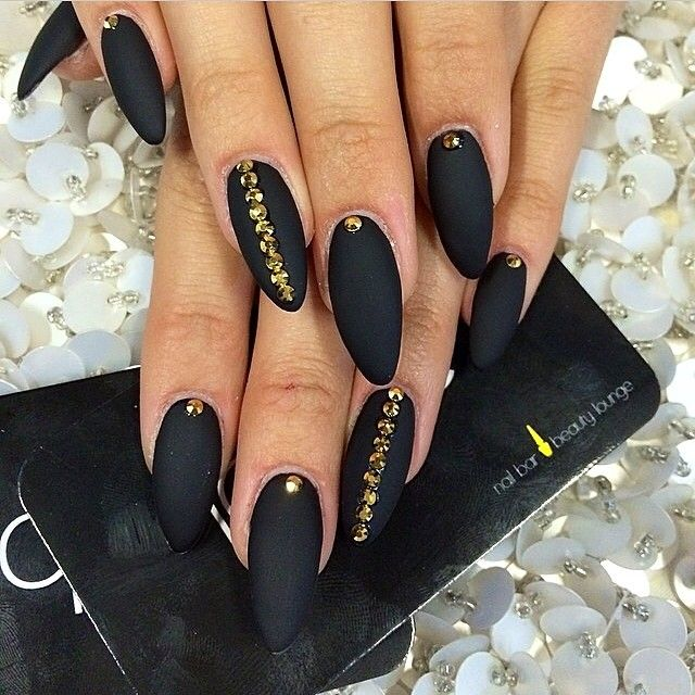 40 Classy Black Nail Art Designs For Hot Women: All Black Matte Nails In Stiletto Or Oval Shape With Gold
