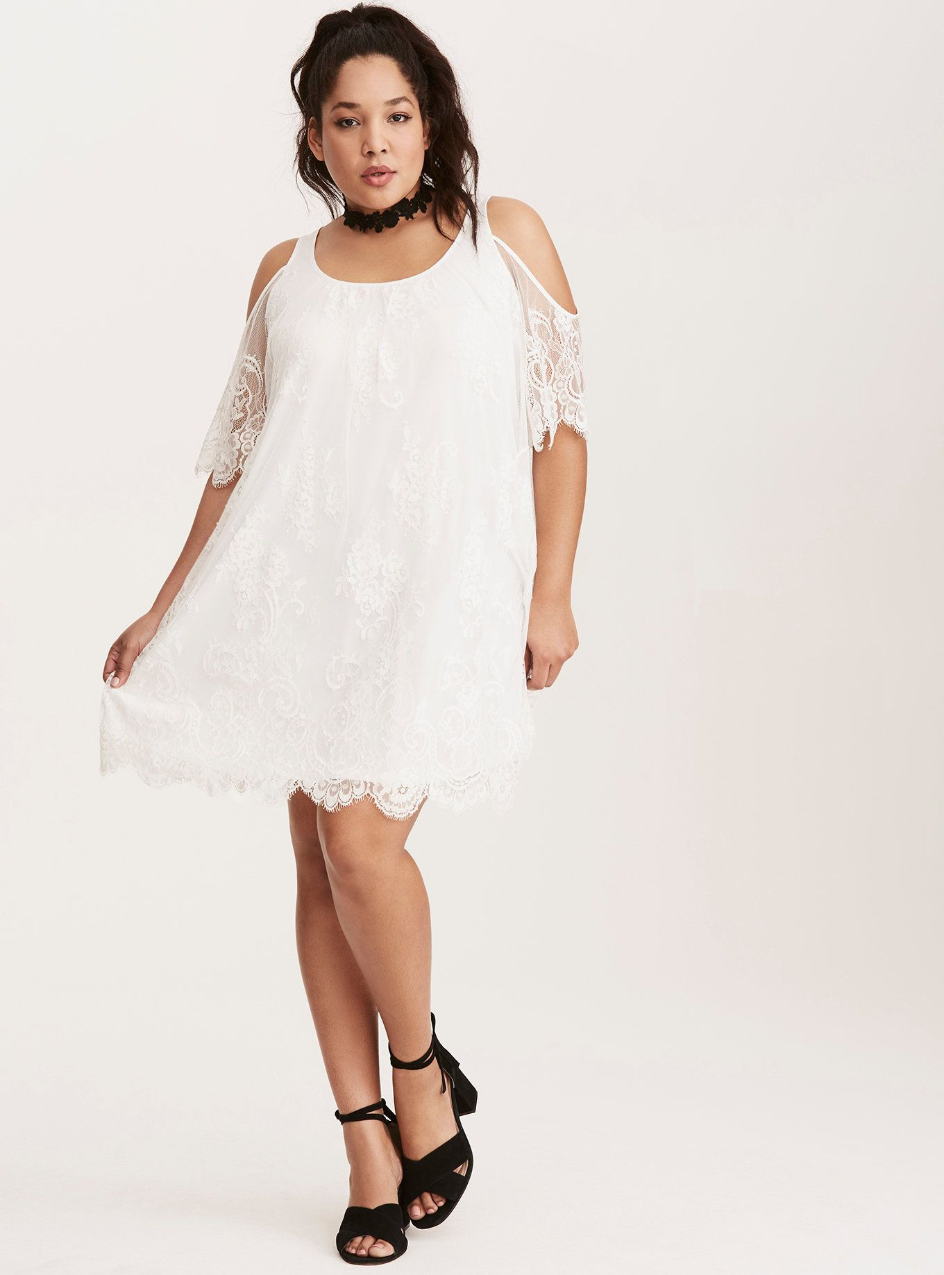 Lace dress torrid  Lace Cold Shoulder Trapeze Dress  Cold shoulder Torrid and Flutter