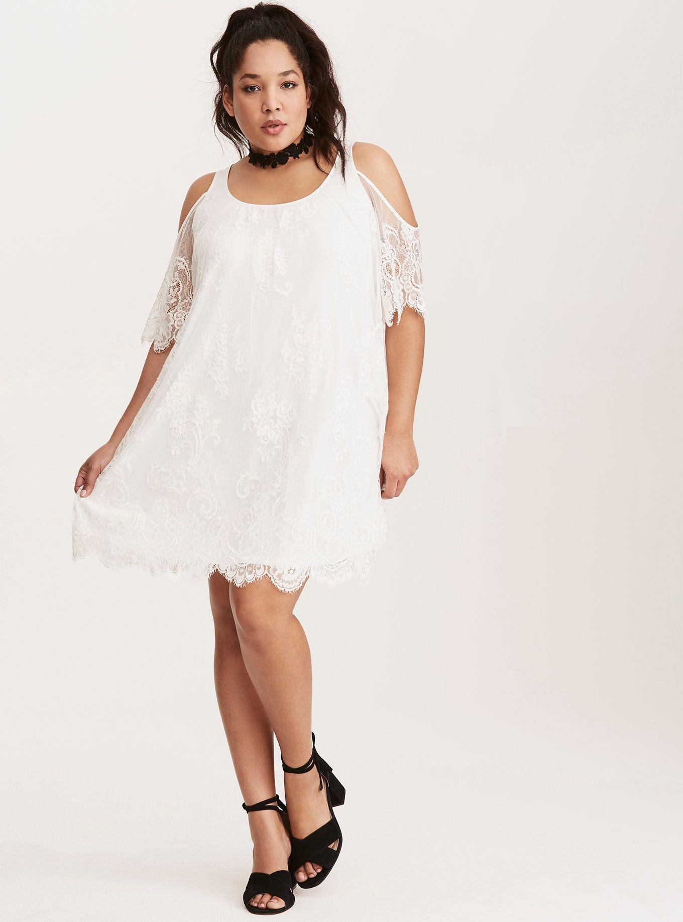 White Lace Cold Shoulder Trapeze Dress White Plus Size Dresses Trapeze Dress Dresses [ 1836 x 1360 Pixel ]
