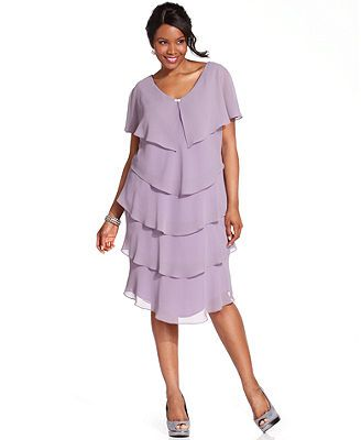 Patra Plus Size Dress Short Sleeve Beaded Tiered Mother Of The