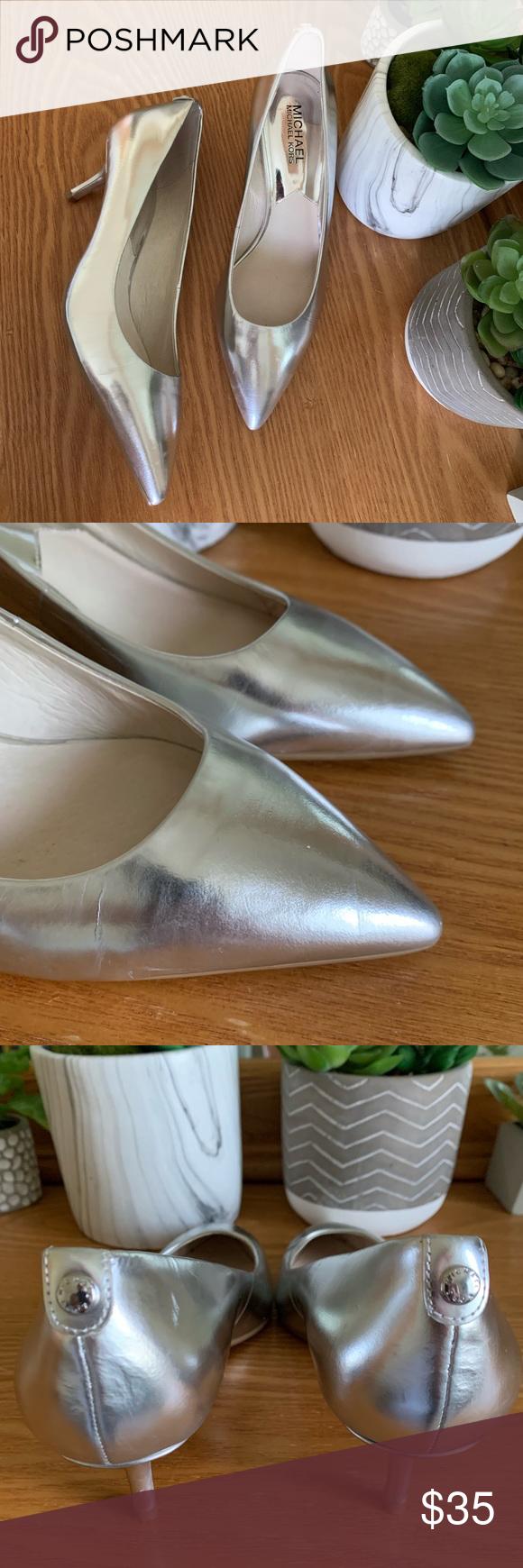 Michael Kors Metallic Flex Kitten Heel Pumps Michael Kors Shoes Heels Kitten Heel Pumps Shoes Women Heels