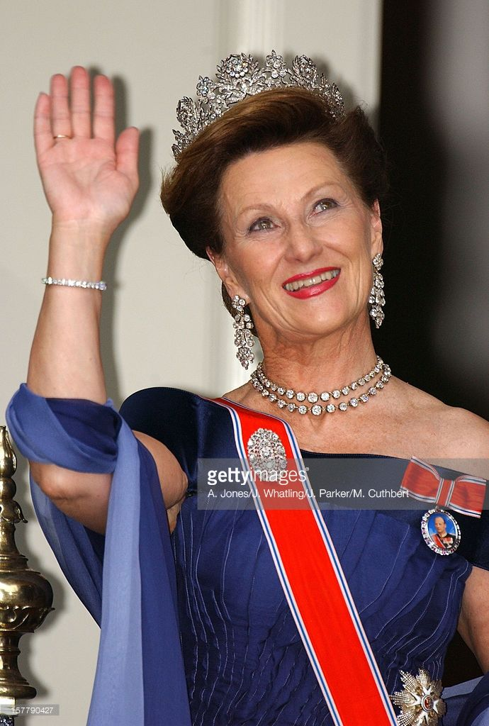 Queen Sonja At The Wedding Of Princess Martha Louise Of Norway And Ari Behn In Trondheim, 2002.