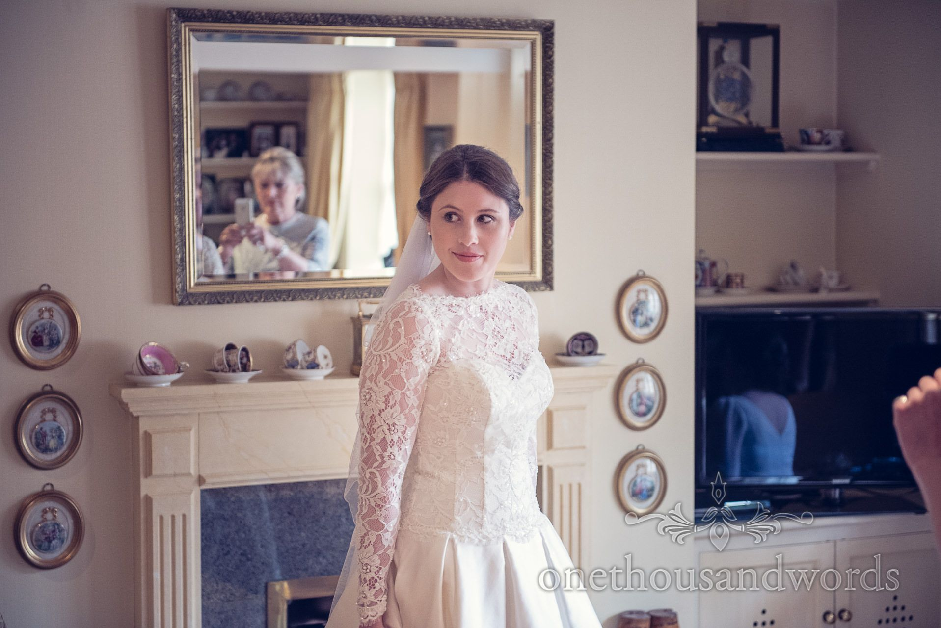 House of brides wedding dresses  Bride at home on The Priory Wareham wedding morning Photography by