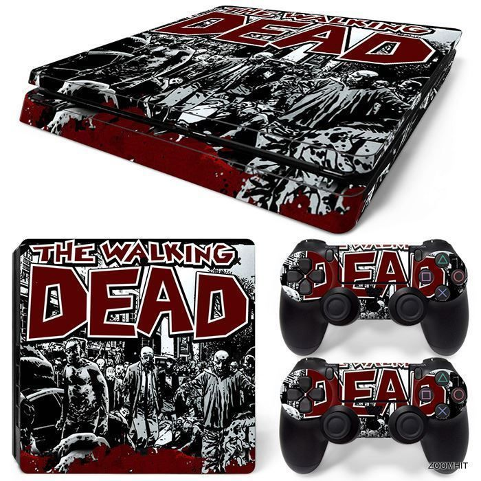Ps4 slim playstation 4 console skin decal sticker the walking dead custom design zoomhit