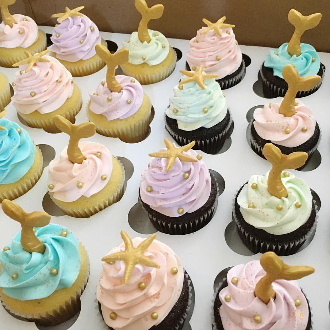 Golden mermaid tails and starfish cupcakes mermaid starfish