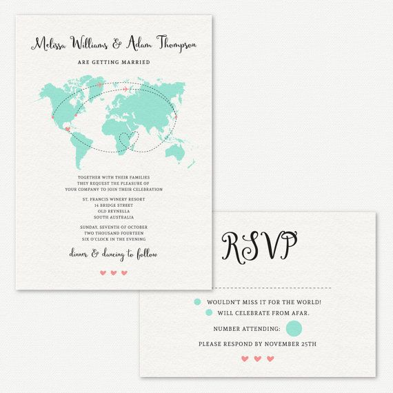 A world map wedding invitation Perfect for couples from a long