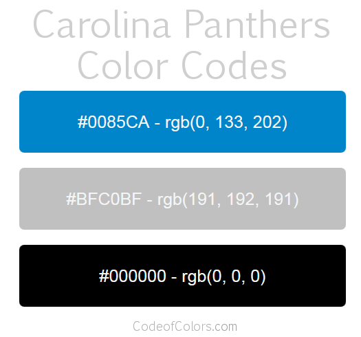 Carolina Panthers Team Color Codes