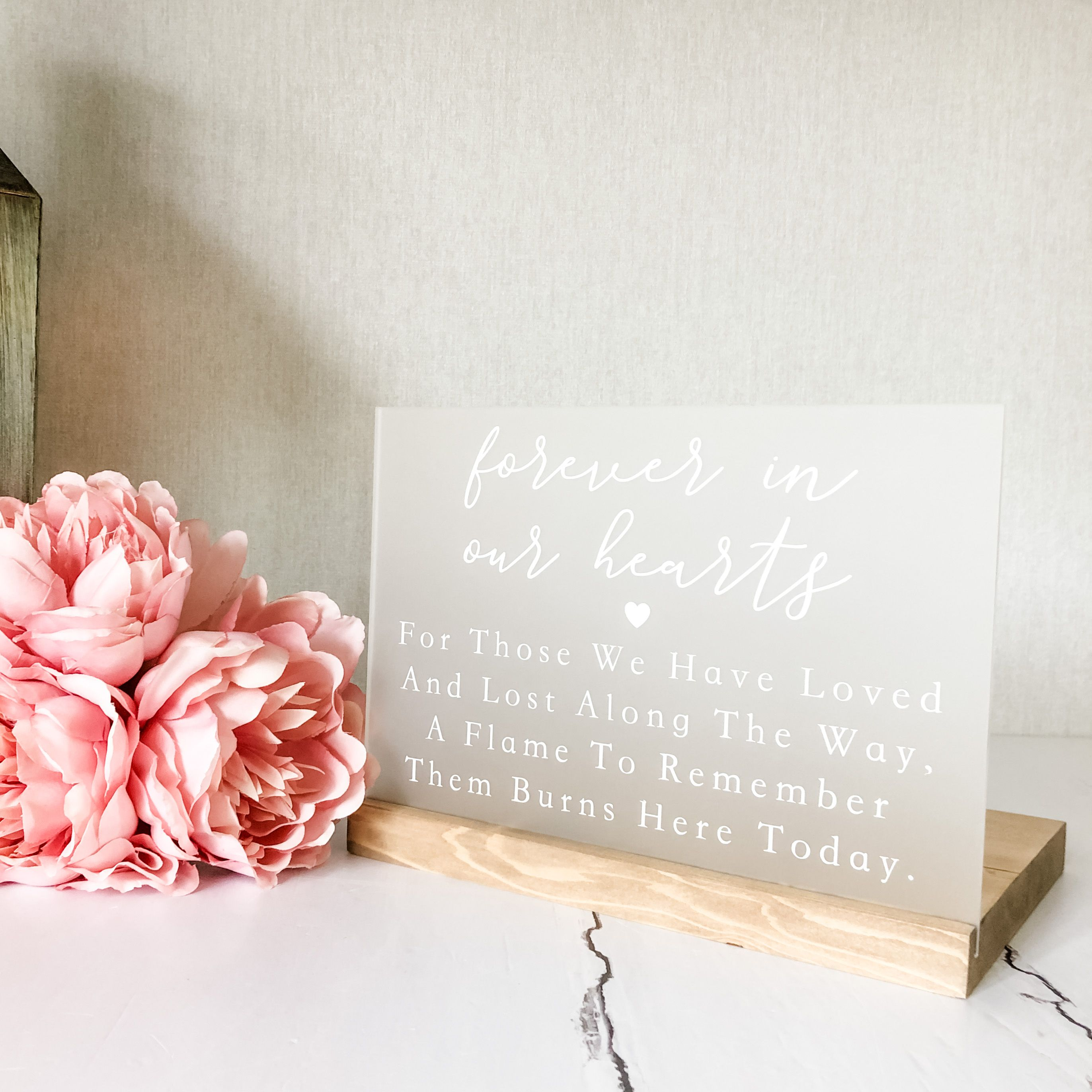 Acrylic Wedding Memorial Sign With Wood Stand in 2020