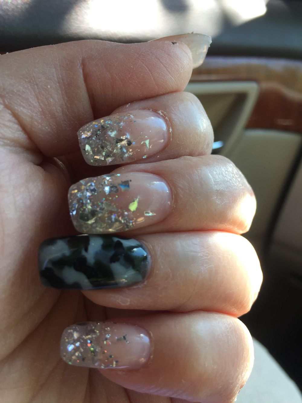 Black And Gray Camo Accent Nail With Silver Flake And Glitter Fade Rock Star Nails For Tesla Concert Camo Nails Rock Star Nails Acrylic Nails