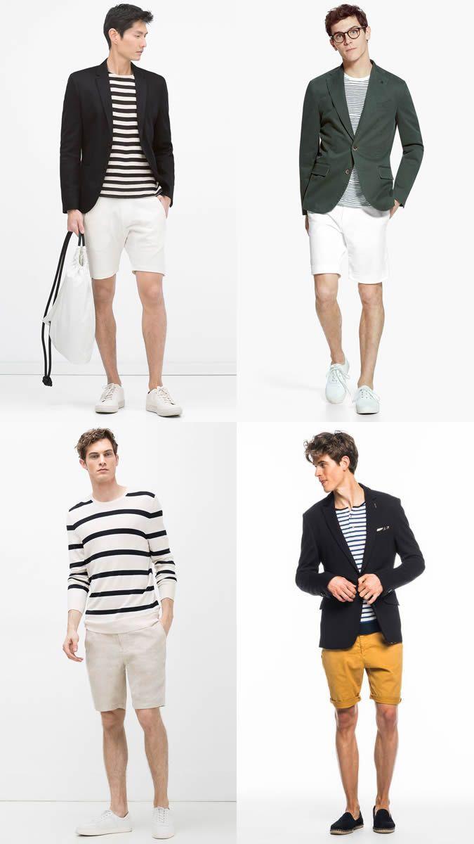 Men's Chino Shorts, Breton Top and Blazer Summer Fashion/Style ...