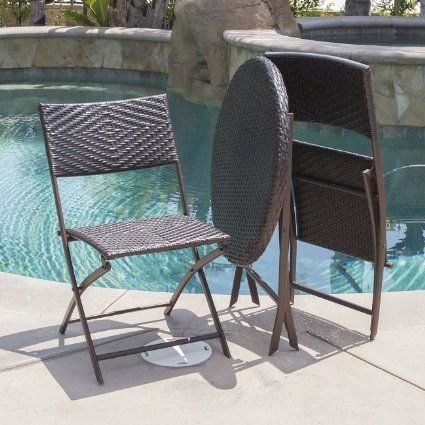 AmazonSmile BELLEZZA© Folding Table & Chair Bistro Set Rattan