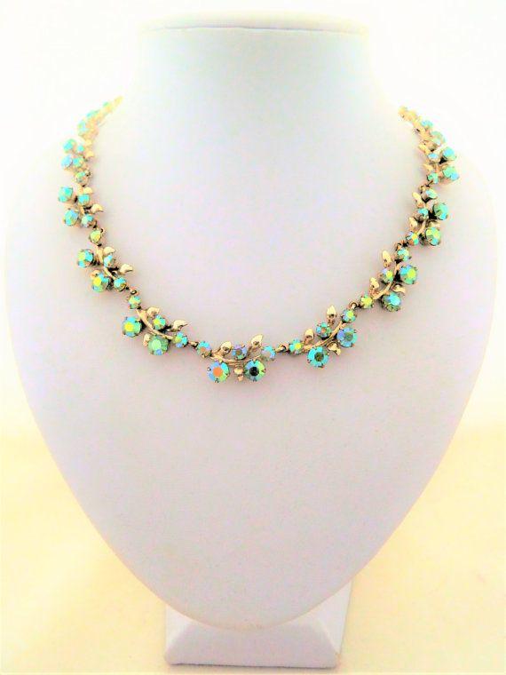 Vintage Pale Green Aurora Borealis Rhinestone by jewelbirdvintage