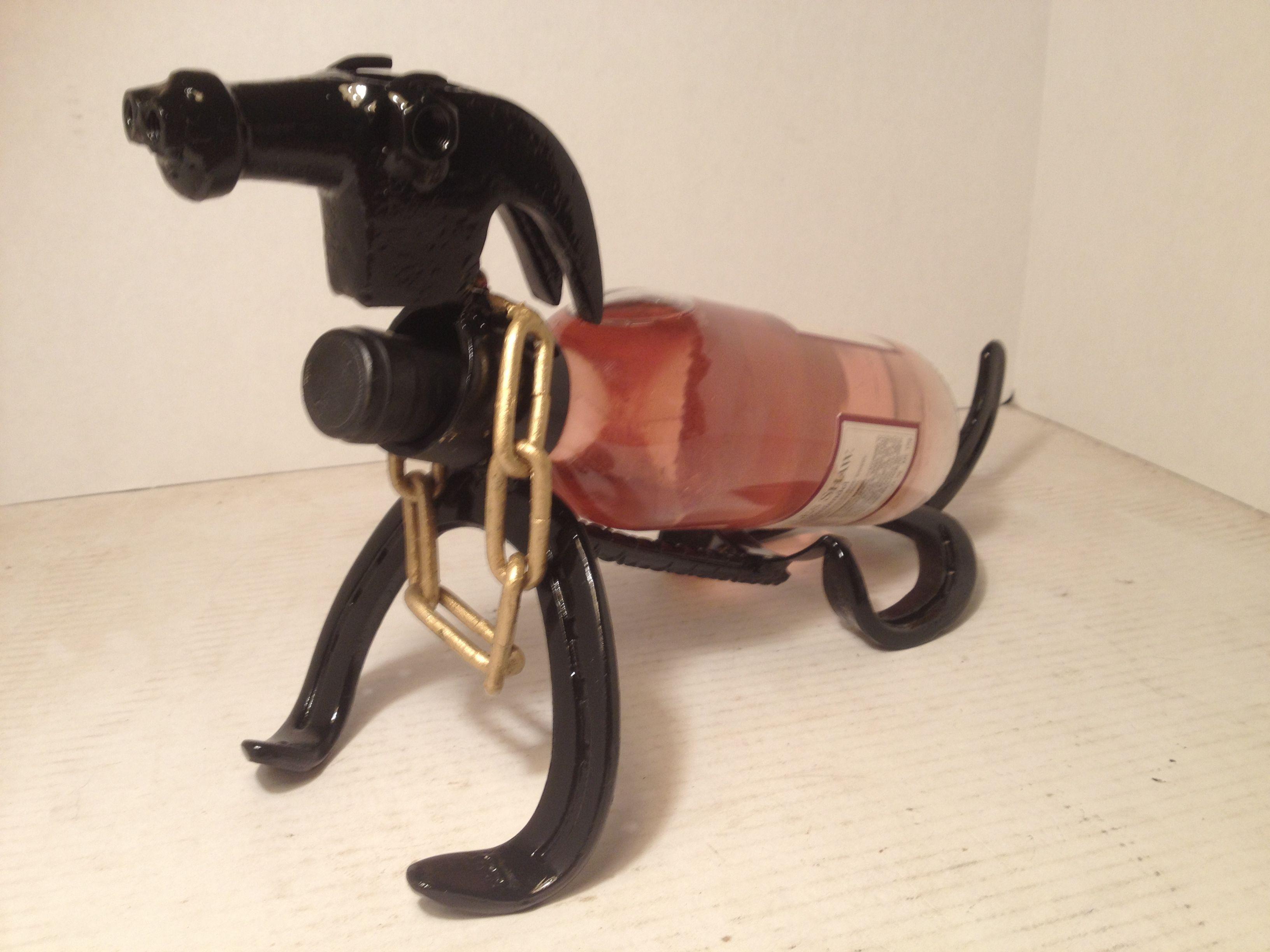 Horseshoe dog wine bottle holder metal artwork pinterest metal