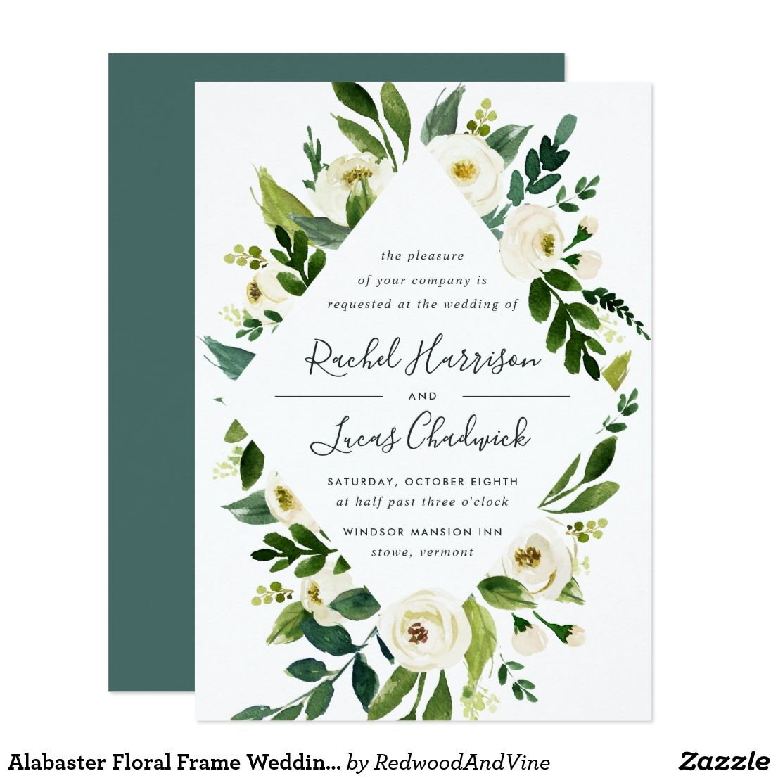 Alabaster Floral Frame Wedding Invitation White Peonies Greenery