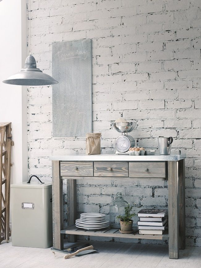 Free Standing Kitchen Storage Solutions Metal Topped Console Table