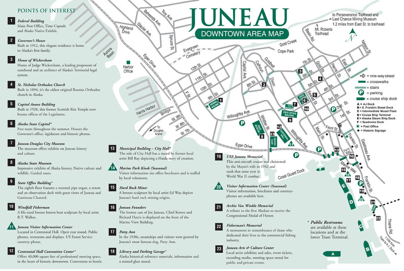 Juneau Downtown Area Map Cruise in 2019