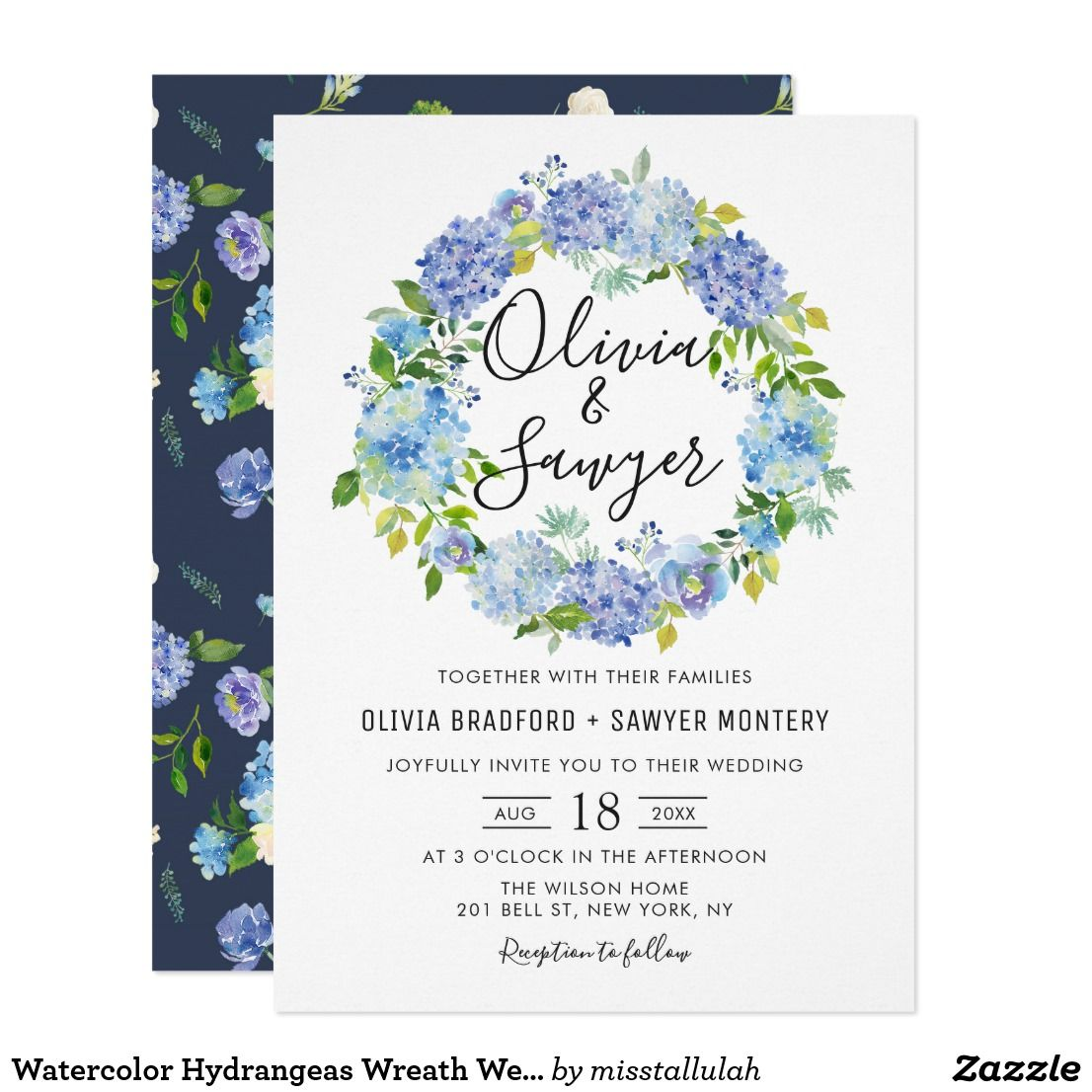 Watercolor Hydrangeas Wreath Wedding Invitation