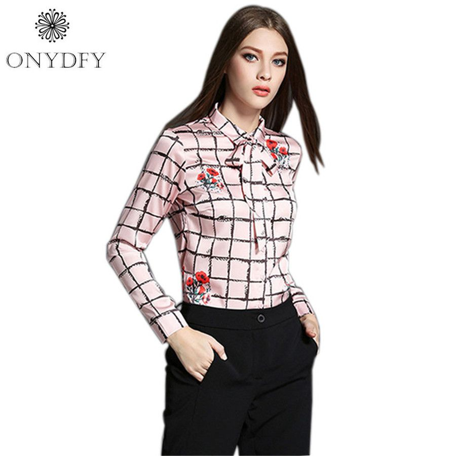 European Style Plaid Satin Blouse Vintage Long Sleeve Shirt Women ...