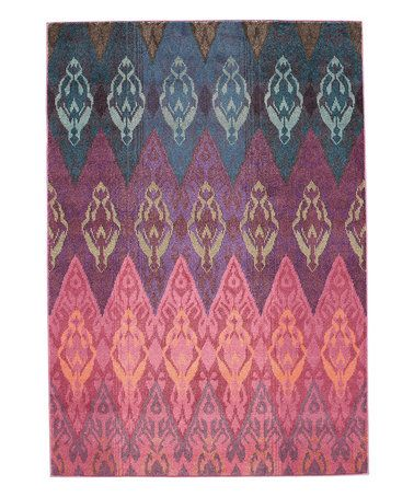 This Pink & Blue Ikat Gradient Rug is perfect! #zulilyfinds | Fly ...