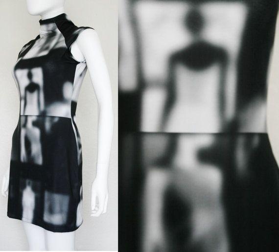 Negative Print Blur Image Dress