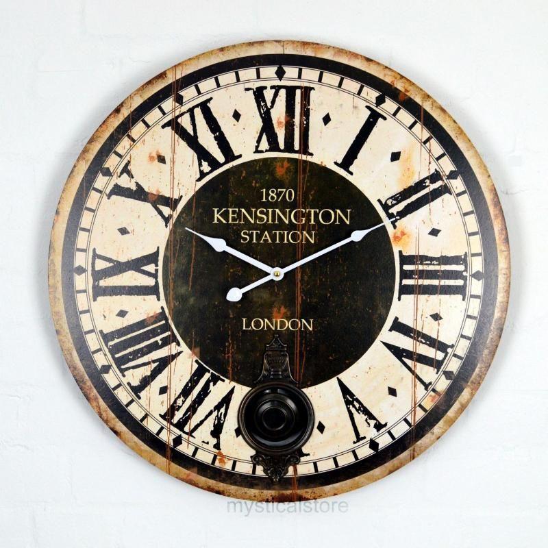 Vintage Wall Clocks 60cm Extra Large Wooden Wall Clock Vintage