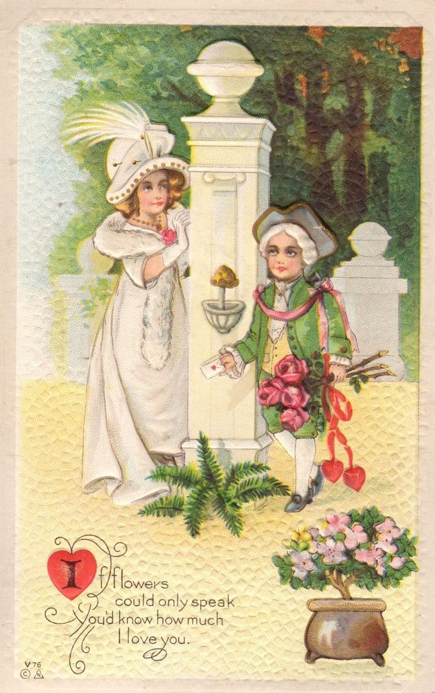 Nash of Victorian Lady & Gentleman declaring his Love Embossed Vintage Postcard #ValentinesDay