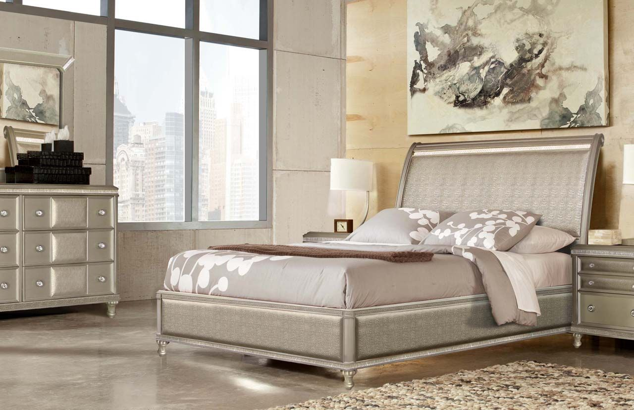 Glam Bedroom With Gator And Crystal Bedroom Furniture Design