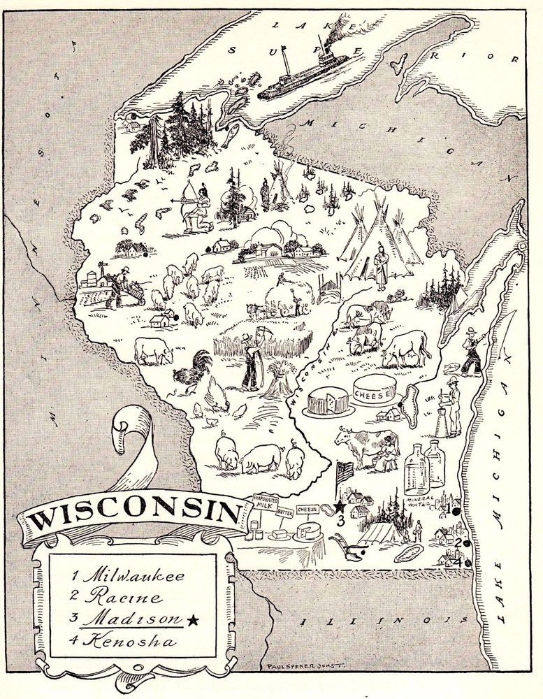 1950s Vintage WISCONSIN Picture Map Pictorial Map of Wisconsin BW