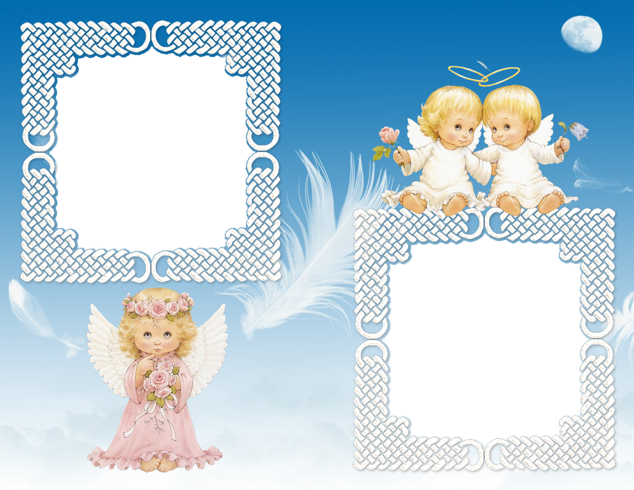 cute angels transparent photo frame