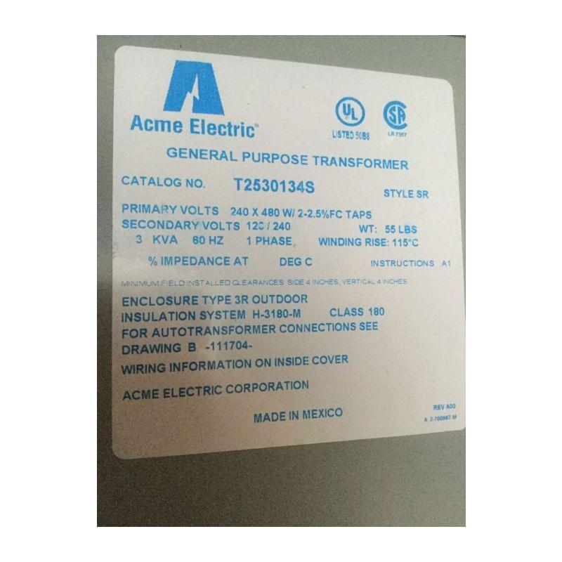 Acme T2530134s Low Voltage Distribution Transformer New Acme Transformers Distribution
