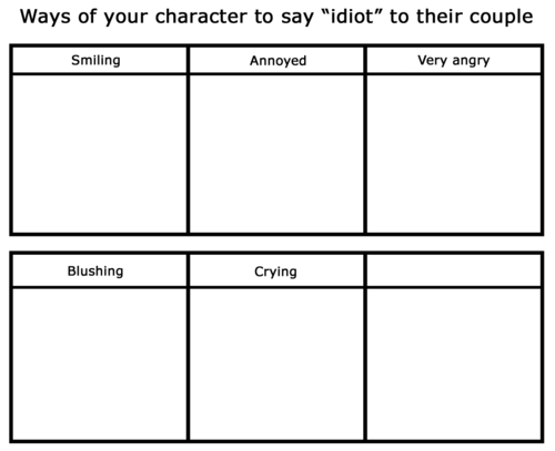 i do not own this meme i just translated it source can be found here link basically you have to draw a character expressing a way to say idiot to