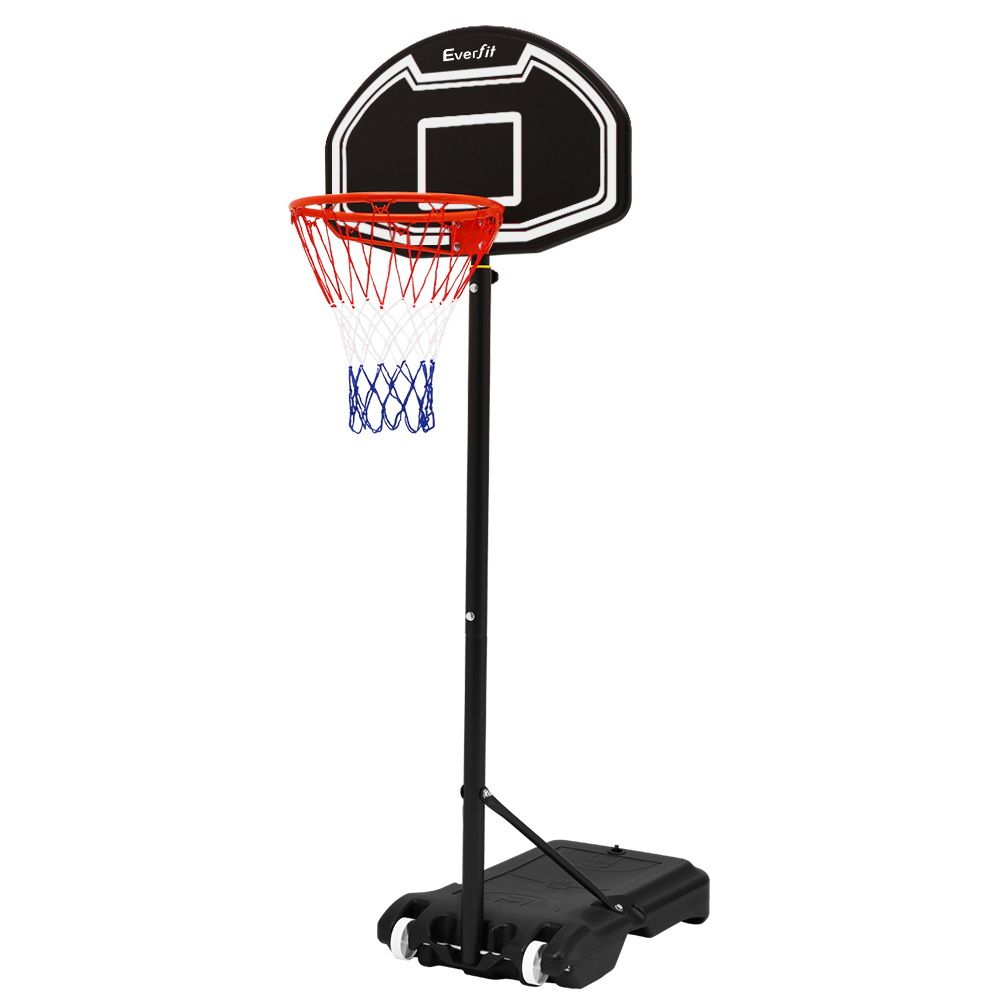 Everfit 2 1m Adjustable Portable Basketball Stand Hoop System Rim Black 95 99 Basketball Systems Basketball Accessories Outdoor Gym