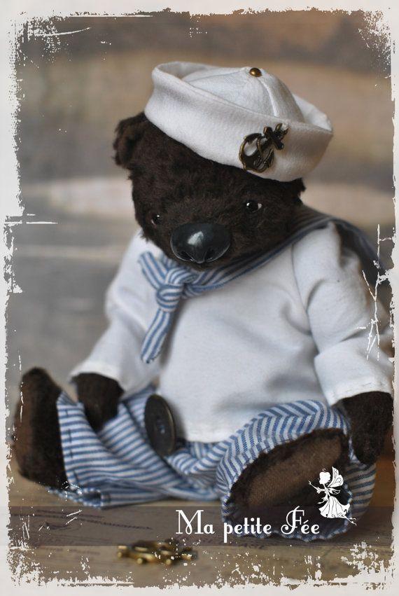 The cabin boy Louise  Artist Teddy Bear  viscose door MaPetiteFee, $220.00