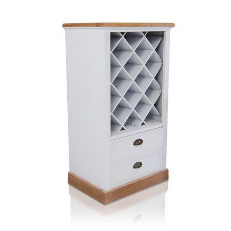 Regal Na Wino Seria Provance Matowa Biel Naturalne Drewno Tall Cabinet Storage Storage Cabinet Tall Storage