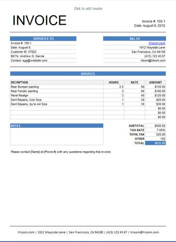 Service Invoice Template with Calculated Tax Amount based on the