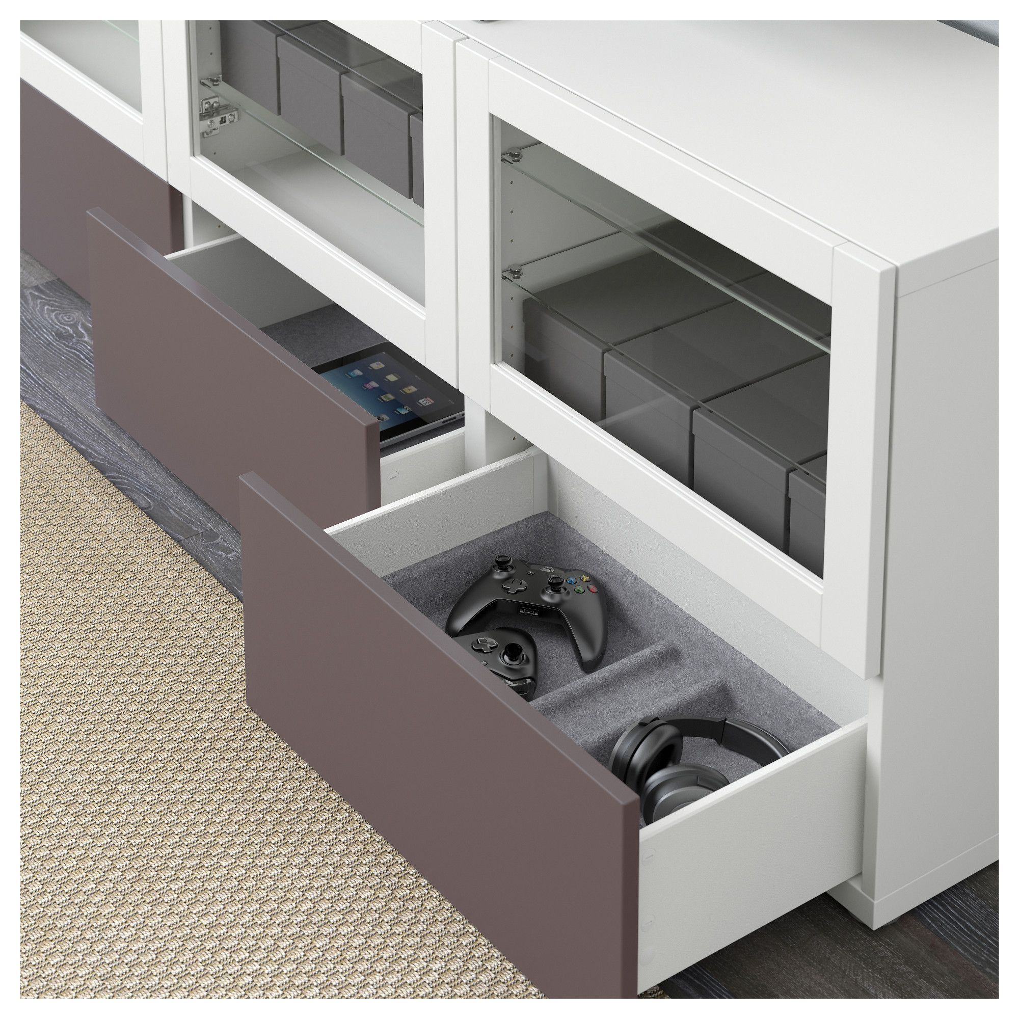 BestÅ tv unit with doors and drawers white valviken dark brown