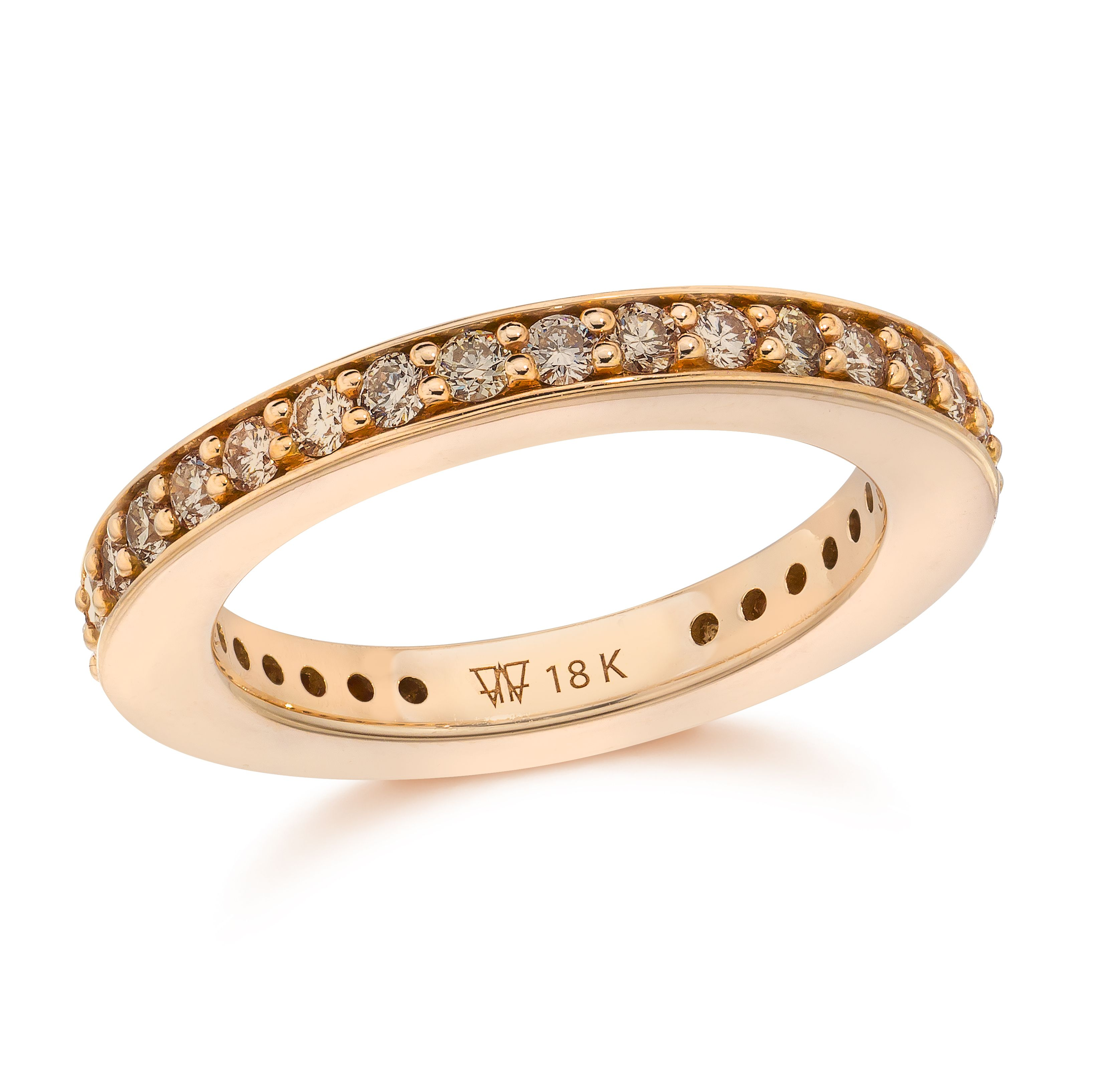 GRANT 18K Rose Gold 3MM Champagne Diamond Cubed Band