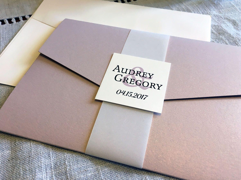 AUDREY Pink & Gold Folder Wedding Invitation, Elegant Wedding ...
