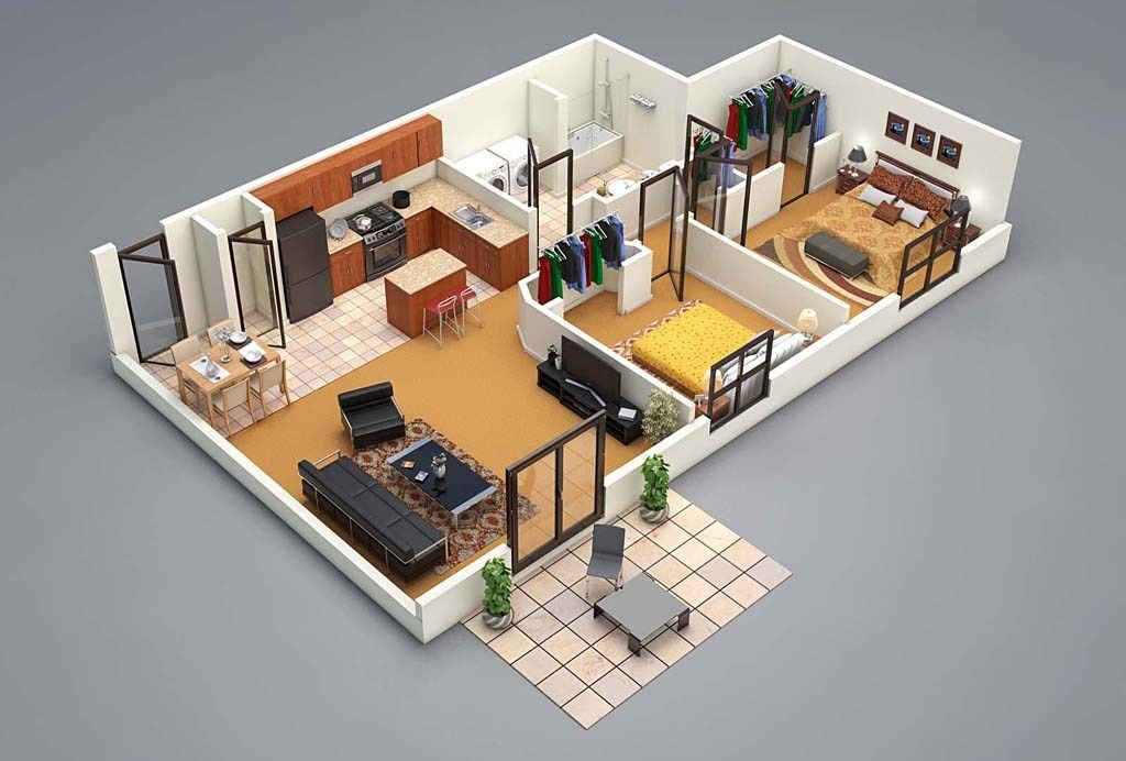 3d Floor Plan 2 Bed Small House Plans House Floor Plans