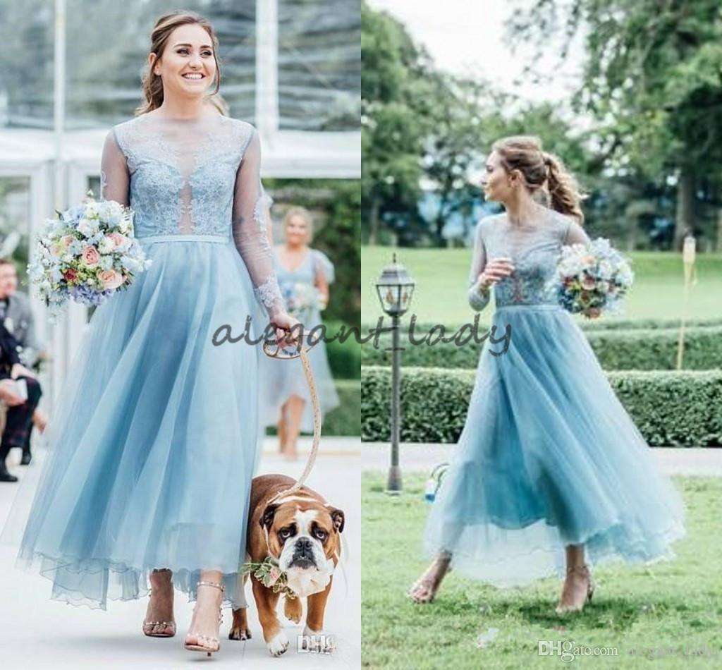 Fashion Lace Country Bridesmaids Dresses A-Line Sheer Bateau Neck ...